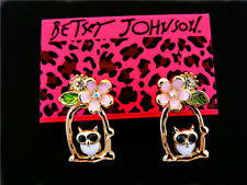 Betsey johnson Flower baskets owl animal ear studs women's earrings