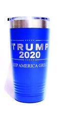 "BLUE Tumbler 20 OZ -""TRUMP 2020 Keep America Great"" Engraved + CUSTOM Text"