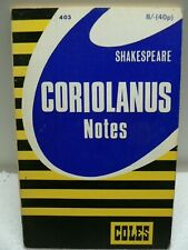 Coriolanus  Shakespeare Notes Study Guide Coles 1967