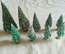 """HO Scale Model Train 9 Pieces Winter Christmas Tree Lot 4"""" - 7 1/2 """" Tall Snow"""