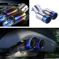 Stainless Steel Car Dual Exhaust Pipe Tail Muffler Tip Throat Blue Tailpipe Ehc