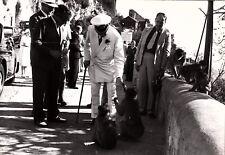 Press photo of Winston Churchill and Aristotle Onassis on Gibraltar in 1958