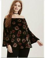 Torrid 00 Large L Black Floral Print Velvet Off Shoulder Bell Sleeve Blouse Top