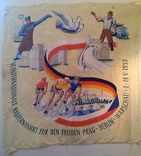 1953 Tuch Fahne DDR Design antik 50er 50ies Sport Berlin Radsport Rad Politik