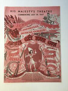 Vintage musical comedy advertisement. 'Annie Get Your Gun' 1947.