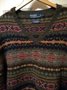 Vintage POLO RALPH LAUREN Green Fair Isle Lambs Shetland Wool Alpaca Sweater L