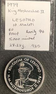 Lesotho 1979 10 Maloti  King Moshoeshoe II / 28 Gr .925 Silver Pf & *No Reserve!