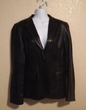 Women's DKNY Black Leather Jacket Size 8