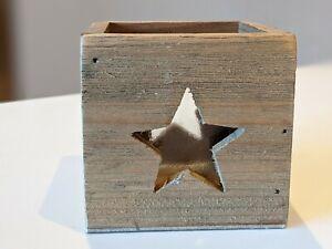 "Vintage Rustic Wooden and Glass Star Cube Tea Light Holder VGC Lantern 3"""