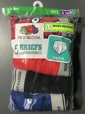 FRUIT OF THE LOOM BOY'S FASHION BRIEFS TAGLESS BRAND NEW SEALED 5 PACK XL