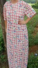 Ladies Nightgown knit cotton rayon stretchy rose red plaid floral M 10 12 long