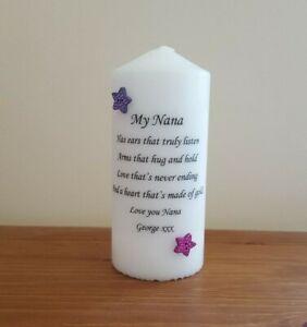 PERSONALISED NANA CANDLE STARS LOVE GIRL BOY GRANDMA NAN NANNY BIRTHDAY GIFT