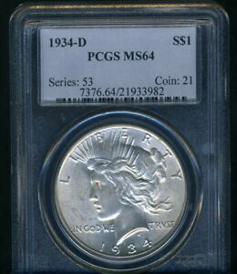 1934-D PEACE DOLLAR PCGS MS64  --- LUSTROUS BRIGHT WHITE COIN
