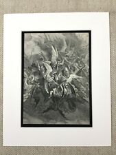 Angels and Demons Paradise Lost John Milton Engraving Antique Print