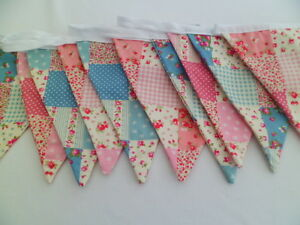 Pink and Blue Patchwork  Fabric Double Bunting 4m long