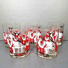 5 Santa Claus Glasses Georges Briard Reindeer Christmas Mid Century Barware Vtg