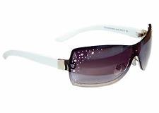 Sonnenbrille Damenbrille Weiß Lila mit Strasssteinen Trendy Brille Monoglas 33