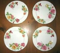 "4 VINTAGE HAMMERSLEY 8"" GILDED DINNER PLATES MORGANS ROSE RARE PATTERN"