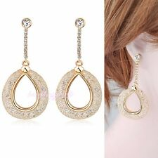 Oval Mesh Crystals Pierced Earrings 18K Yellow Gold Plated Vogue Style Hot E725