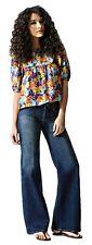 NWT $203 Paige Premium Denim Hillside Wideleg Jeans in Midnight Shadow size 28