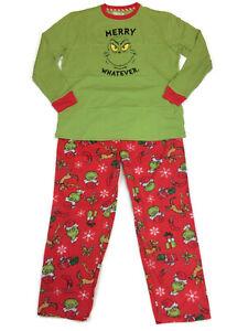 Dr. Seuss Mens Grinch Christmas Pajamas Sleep Lounge PJS Big Sizes XL 2X 3X