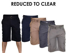 New Mens Free Belt Bermuda Cotton Combat Cargo Pocket Work Shorts Casual Pants
