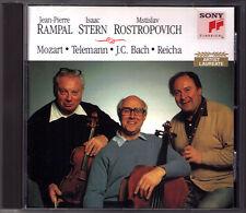 Jean-Pierre RAMPAL Isaac STERN ROSTROPOVICH Mozart Telemann Bach Reicha Trio CD
