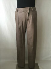 VINCE Amazing Lambskin Leather Overlapping Tilted Zipper Pants in Beige Taupe. 2