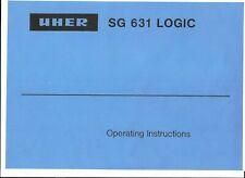Uher Bedienungsanleitung user  manual für SG 631 Logic englisch  Copy