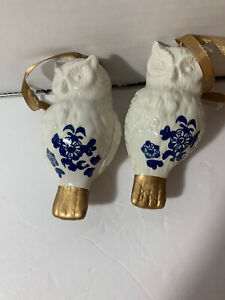 Set of 2 White Owl ornaments with blue design and gold accent & ribbon - EUC!!!!