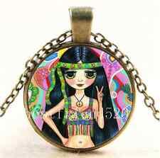 Vintage Peace Sign Hippie Girl Cabochon Glass Bronze Chain Pendant Necklace