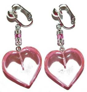 """PINK ACRYLIC """"VALENTINE"""" HEART DANGLE or CLIP ON EARRINGS - 2 CHOICES"""