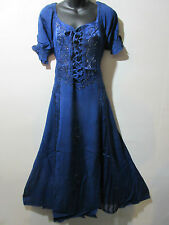Dress Fits 1X 2X  Plus Blue Renaissance Corset Lace Up Chest Embroider NWT G100