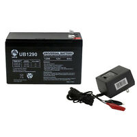 UPG 12V 9AH Battery for Emergency Lighting Equipment and ATVs with CHARGER