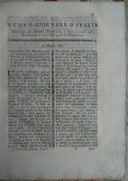 1789 RIVISTA 'NUOVO GIORNALE D'ITALIA' SU PRATI VENETI E SETA DA BACHI FARFALLE