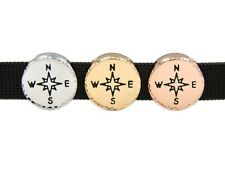 Silver Tone COMPASS 10mm Slider Bead Slide Keep Keepsake Bracelet Charm