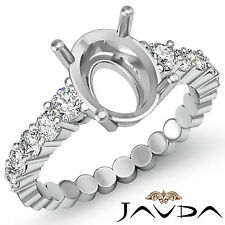 Diamond Engagement Oval Semi Mount Shared Prong Set Ring 18k White Gold 0.70Ct