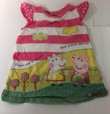 Next Peppa Pig Girls Pink Stripe Dress 18-24 Months Applique Cotton Sleeveless
