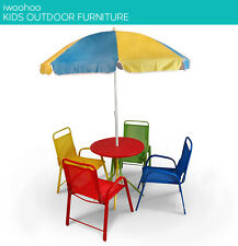 Kids Picnic Setting w/ Umbrella, Table / 4x Chairs Garden Park Outdoor Kid child