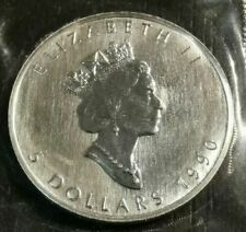 1990 Canadian $5 MAPLE LEAF 1 oz .9999  Mint Fine Silver Coin