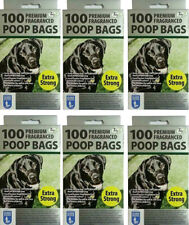 600 x Doggy Poop Poo Bags Tie Handles Extra Strong Lemon Fragrance 26 x 34cm