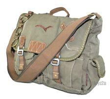 Mens Vintage Canvas Medium Size Sailor Style Casual Shoulder Messenger Bag-Green
