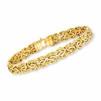 "7"" Polished Byzantine Link Bracelet w/ Fancy Lobster Clasp REAL 14K Yellow Gold"