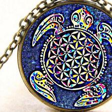 New Sacred Geometry Ocean Turtle Pendant Necklace, Flower of Life, Mandala Art