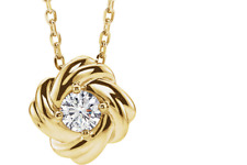 """Knot necklace in 14k yellow gold, with 1/6 ct diamond. 16-18"""", retail $799"""