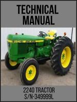 John Deere 2240 Tractor S/N-349999L Technical Manual TM4301 USB Drive