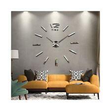 3d Stickers Argent Grand Horloge Montre Murale Acryliques A2 - 120 cm