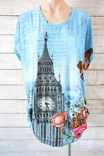 HOURGLASS Top Sz XL 16 18 Blue Black London Big Ben Print Tunic Blouse