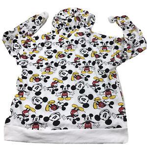 Disney Womens Juniors Hoodie Mickey Mouse All Over Print Sweatshirt SZ L Flaw