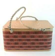 Vintage Burlington Plaid Wood Rope Handle Picnic Basket Red Black